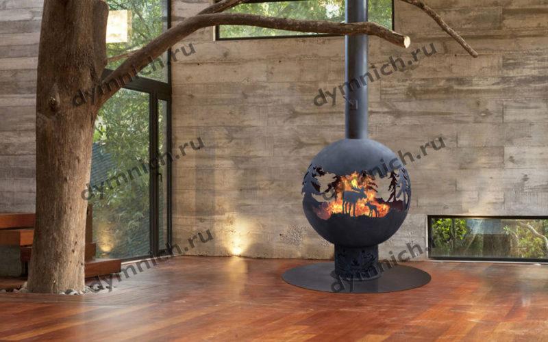 Островной дровяной камин в современном интерьере