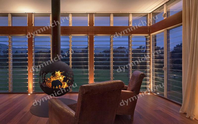 Подвесной дровяной камин с круглой топкой в современном стиле  для дома