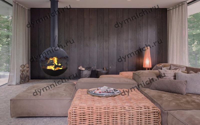 Подвесной дровяной камин в современном интерьере