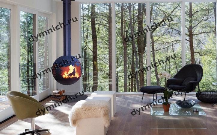 Современный подвесной дровяной камин