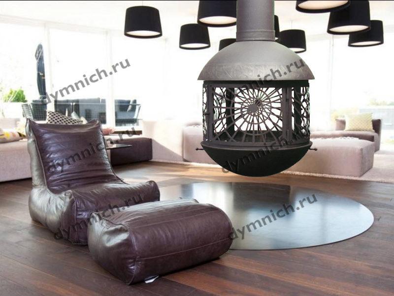 Современный дровяной подвесной камин с огнеупорным стеклом
