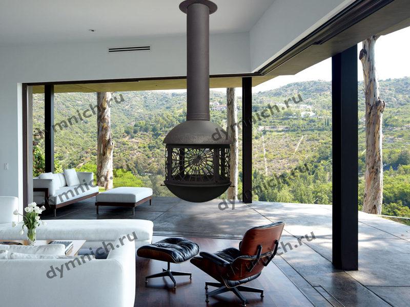 Современный дровяной подвесной камин с огнеупорным стеклом в интерьере