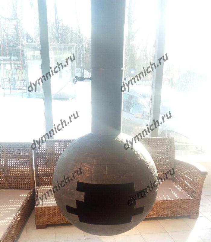 Современный дровяной камин в стиле лофт - металлический подвесной камин