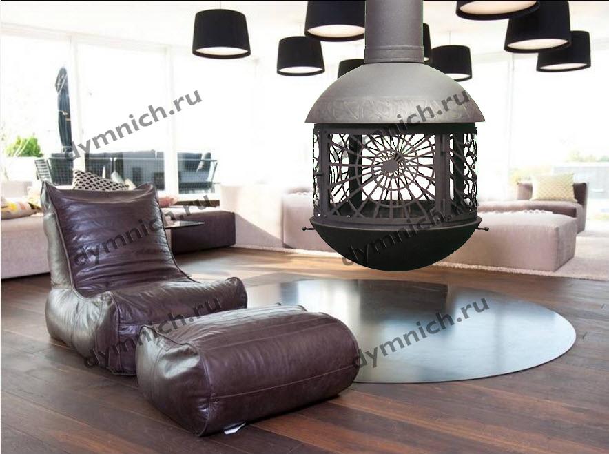 Подвесной камин с оригинальным дизайном